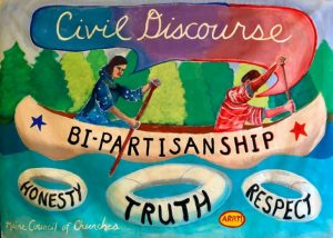 Civil Discourse painting from Maine Council of Churches